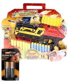 Chhota Bheem Soft Bullet Gun Battery Operated - Multicolour and  Duracell AA Batteries - Pack of 2