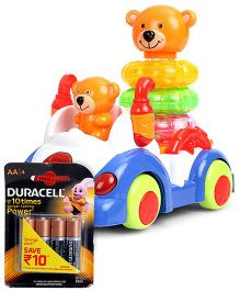 Mitashi Skykidz Musical Imagi Car Ride - Multicolor and  Duracell AA Batteries - Pack Of 4