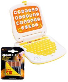Mitashi Skykidz Fun Educational Tabulus - Yellow and  Duracell AA Batteries - Pack Of 4