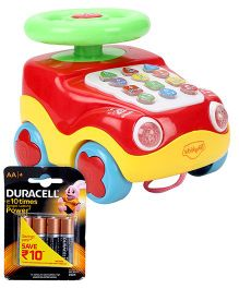Mitashi SkyKidz Learning Car Musical Toy - Red and  Duracell AA Batteries - Pack Of 4