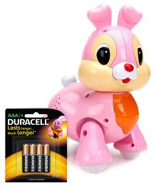 Mitashi Skykidz Pet Party Bunny - Pink and  Duracell AAA Size Batteries - Pack Of 4