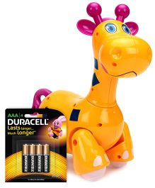 Mitashi Skykidz Jungle Rumble Giraffe - Yellow and Duracell AAA Size Batteries - Pack Of 4