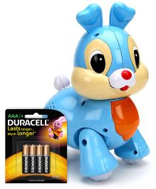 Mitashi Skykidz Pet Party Bunny - Sky blue and  Duracell AAA Size Batteries - Pack Of 4