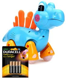 Mitashi Skykidz Jungle Rumble Dino - Light Blue and  Duracell AAA Size Batteries - Pack Of 4