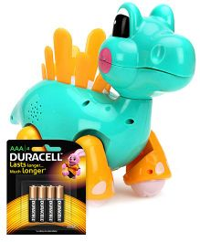 Mitashi Skykidz Jungle Rumble Dino - Aqua Green and  Duracell AAA Size Batteries - Pack Of 4