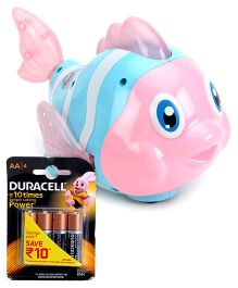 Mitashi SkyKidz Aqua Buddies Funky Fish - Pink and  Duracell AA Batteries - Pack Of 4
