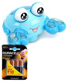 Mitashi SkyKidz Aqua Buddies Crazy Crab - Blue and  Duracell AA Batteries - Pack Of 4