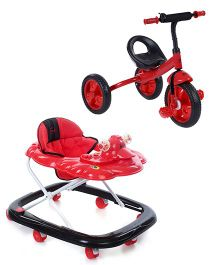 Babyhug Happy Duck Musical Walker - (Red,Black) And Babyhug My Robust Tricycle - Red