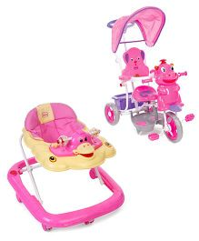 Babyhug Happy Duck Musical Walker - Pink And Babyhug Happy Hippo Tricycle With Canopy - Pink