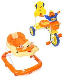 Babyhug Happy Duck Musical Walker - Orange And Babyhug Musical Froggy Tricycle - Orange
