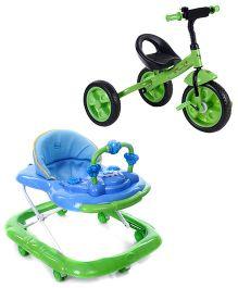 Babyhug My Toyfun Musical Walker - Blue And Babyhug My Robust Tricycle - Green