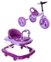 Babyhug My Toyfun Musical Walker - Purple And Babyhug My Robust Tricycle - Purple