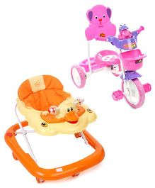 Babyhug Happy Duck Musical Walker - Orange And Babyhug Musical Froggy Tricycle - Pink