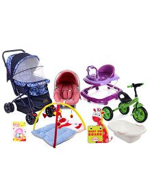 Babyhug Baby Gear & Activities Set (Stroller, Walker,Tricycle, Activity Gym, Sign Board, Car Seat cum Carrycot,Bath Tub, Baby Rattle)