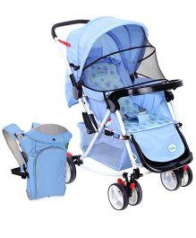 Babyhug Rock n Roll Stroller - Blue and Babyhug Comfort Nest 3 Way Baby Carrier - Sky Blue