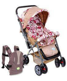 Babyhug Cocoon Stroller - Pink and Babyhug Snuggle Me 3 Way Baby Carrier - Grey & Wheat