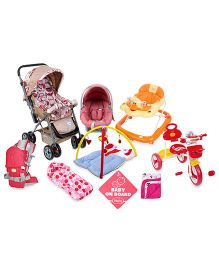 Babyhug Baby Gear & Activity Set (Walker, Stroller, Tricycle, Car Seat cum Carrycot, Sleeping Bag, Blanket, Baby Carrier, Sign Board, Activity Gym)