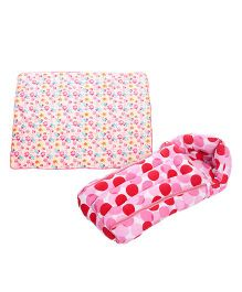 Babyhug Sleeping Bag Polka Dots - Pink and Babyhug Baby Blanket Elephant Print - Pink
