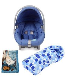 Babyhug Take Me Along Car Seat cum Carrycot - Blue and Babyhug 2Ply Mink Blanket - Little Girl & Duck Blue and Babyhug Sleeping Bag Polka Dots - Blue