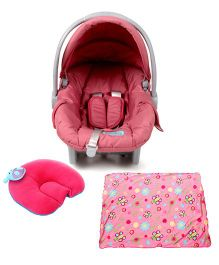 Babyhug Take Me Along Car Seat cum Carrycot - Mauve and Babyhug Shape Supporter Pillow Hippo Motif - Pink and Babyhug Baby Blanket Floral Print - Pink