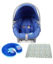 Babyhug Take Me Along Car Seat cum Carrycot - Blue and Babyhug Baby Blanket Car Print - White & Green and Babyhug Neck Supporter Pillow Blue With Two Motifs - Hippo