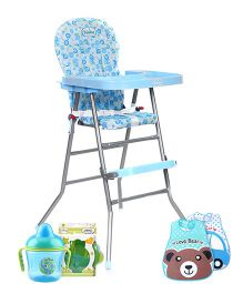 Babyhug Happy Meal High Chair with Feeding Essentials (Non Spill Sipper Cup, Feeding Bowl with Fork and Spoon, Waterproof Plastic Crumb Catcher Bib-Pack of 2)