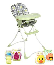 Babyhug Foodjoy High Chair,Green with Feeding Essential(Waterproof Plastic Crumb Catcher Bib- Pack of 2, Soft Spout Cup, Feeding Bowl)