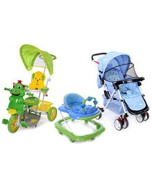 Babyhug Rock n Roll Stroller - Blue and Babyhug Happy Hippo Tricycle With Canopy - Green and Babyhug My Toyfun Musical Walker - Blue