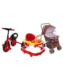 Babyhug Moon Walk Stroller - Pink and Babyhug My Toyfun Musical Walker - Red and Babyhug My Robust Tricycle - Red