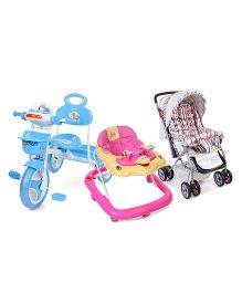 Babyhug Cosy Cosmo Stroller - Red Stripes and Babyhug Happy Duck Musical Walker - Pink and Babyhug Funride Tricycle - Blue