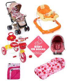 Babyhug Baby Gear and Bedding Set( Stroller, Walker, Tricycle,Car Seat Cum Carry Cot, Baby on Board, Sleeping Bag, Blanket)