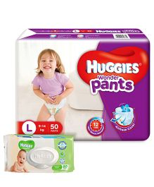 Huggies Wonder Pants Large Size Pant Style Diapers - 50 Pieces & Huggies Cucumber And Aloe Thick Baby Wipes - 80 Pieces