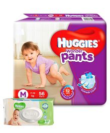 Huggies Wonder Pants Medium Size Pant Style Diapers - 56 Pieces & Huggies Cucumber And Aloe Thick Baby Wipes - 80 Pieces