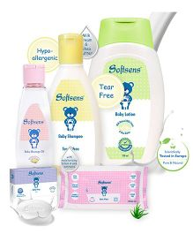 Softsens Baby Soap - 75 gm PLUS Softsens Baby Shampoo - 200 ml PLUS Softsens Baby Lotion - 200 ml PLUS Softsens Baby Wipes - 20 Pieces PLUS Softsens Baby Massage Oil - 100ml