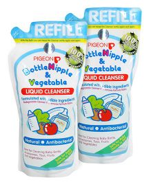 Pigeon Bottle Nipple and Vegetable Liquid Cleanser Refill Pack - 700 ml (Pack of 2)