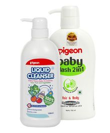 Pigeon Liquid Cleanser Bottle - 700 ml AND Pigeon - Baby Wash 2 in 1 - Hair and Body