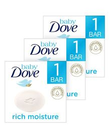 Baby Dove Baby Soap Bar Rich Moisture - 75 gm (Pack of 3)