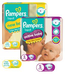 Pampers Active Baby Diapers Small - 46 Pieces & Pampers New Baby Diapers New Born - 24 Pieces