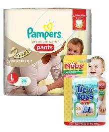 Nuby - Tie n Toss Bag Refills AND Pampers Premium Care Pant Style Diapers Large - 20 Pieces