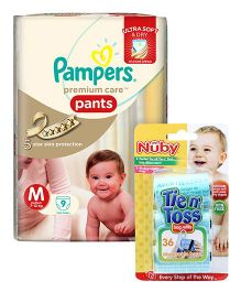 Nuby - Tie n Toss Bag Refills AND Pampers Premium Care Pant Style Diapers Medium - 9 Pieces