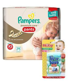 Nuby - Tie n Toss Bag Refills AND Pampers Premium Care Pant Style Diapers Newborn Extra Small - 24 Pieces
