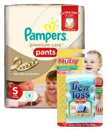 Nuby - Tie n Toss Bag Refills AND Pampers Premium Care Pant Style Diapers Small - 9 Pieces