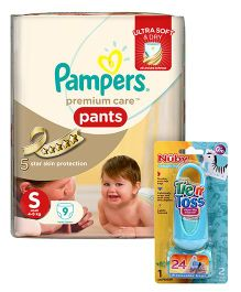 Nuby Tie N Toss Diaper Dispenser Bags - 24 Pieces AND Pampers Premium Care Pant Style Diapers Small - 9 Pieces