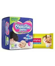 Babyhug Premium Baby Wipes - 80 Pieces AND Mamy Poko Pant Style Diapers Extra Small  - 20 Pieces