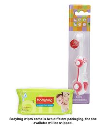 Babyhug Premium Baby Wipes - 80 Pieces AND Mee Mee Car Shaped Kids Toothbrush - Pink