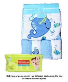 Babyhug Premium Baby Wipes - 80 Pieces AND Owen 5 Piece Starter Set Hooded Towel With 4 Wash Cloths
