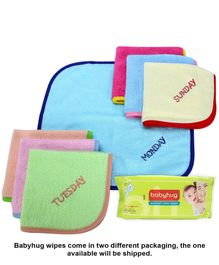 Babyhug Premium Baby Wipes - 80 Pieces AND Sapphire Face Napkin With Names of Day Embroidery Set Of 7 - Multicolor