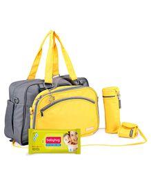 Babyhug Premium Baby Wipes - 80 Pieces AND My Milestones Diaper Bag Duo Detach - Yellow