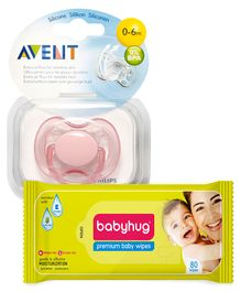 Babyhug Premium Baby Wipes - 80 Pieces AND Avent - Free Flow Soothers