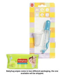Babyhug Premium Baby Wipes - 80 Pieces AND Mee Mee Medicine Dropper And Beaker